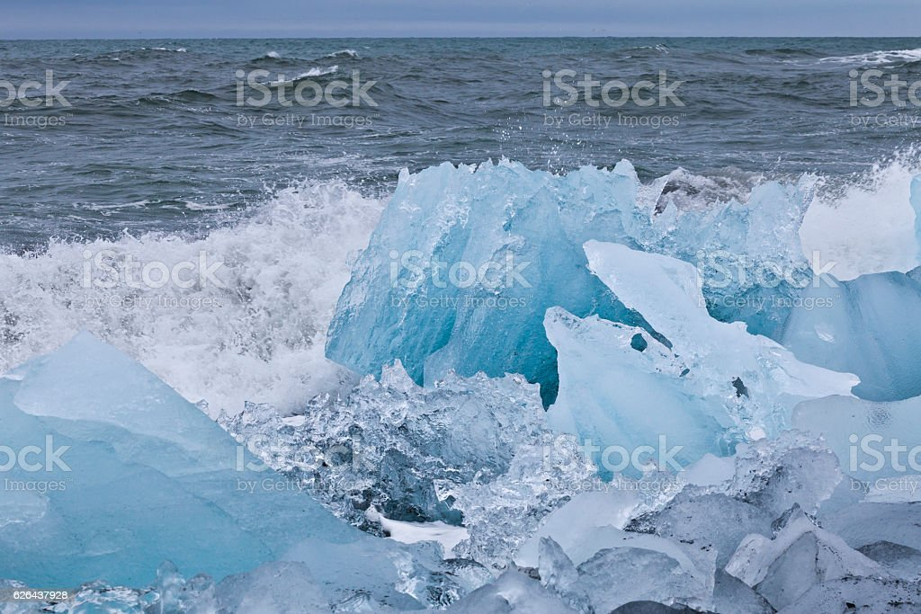 Icebergs at the Glacier lagoon of Jökulsarlon, Iceland stock photo