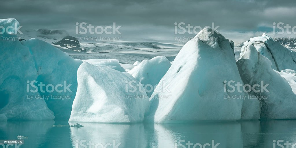 Icebergs floating in a glacier lagoon stock photo