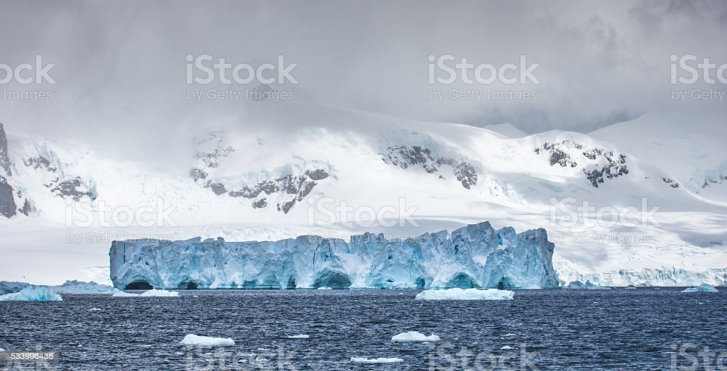 Icebergs floating in Antarctica stock photo