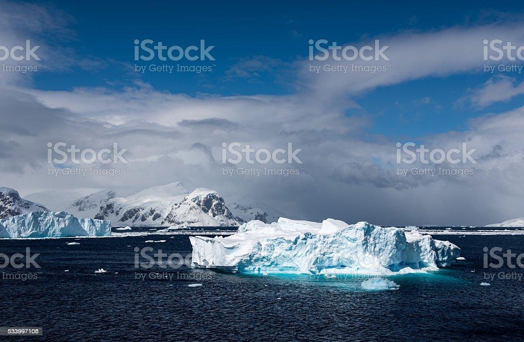 Icebergs floating in Antarctica stock photo