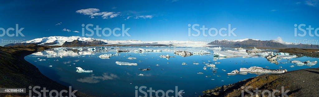 Icebergs Floating in Jokulsarlon Glacier Lagoon, Panoramic composition,South Iceland stock photo
