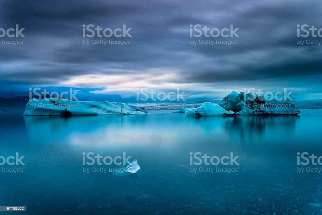 Icebergs Floating in Jokulsarlon Glacier Lagoon, South Iceland stock photo