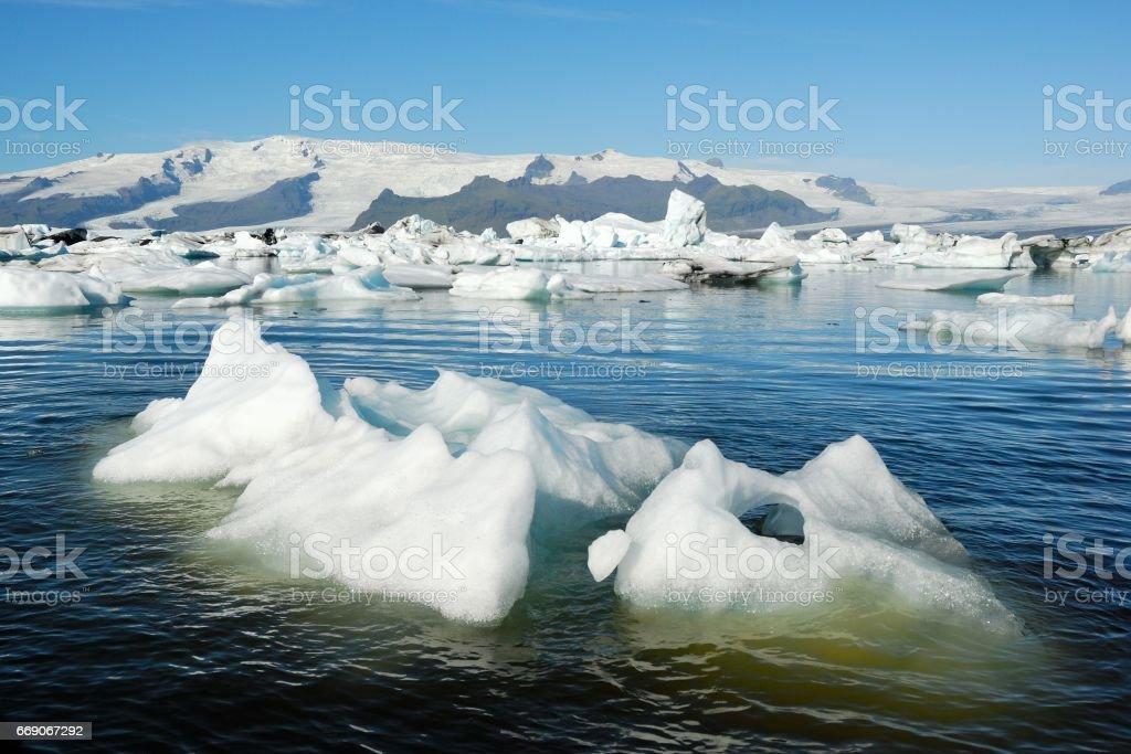 Icebergs floating in Jokulsarlon glacier lake, Iceland stock photo