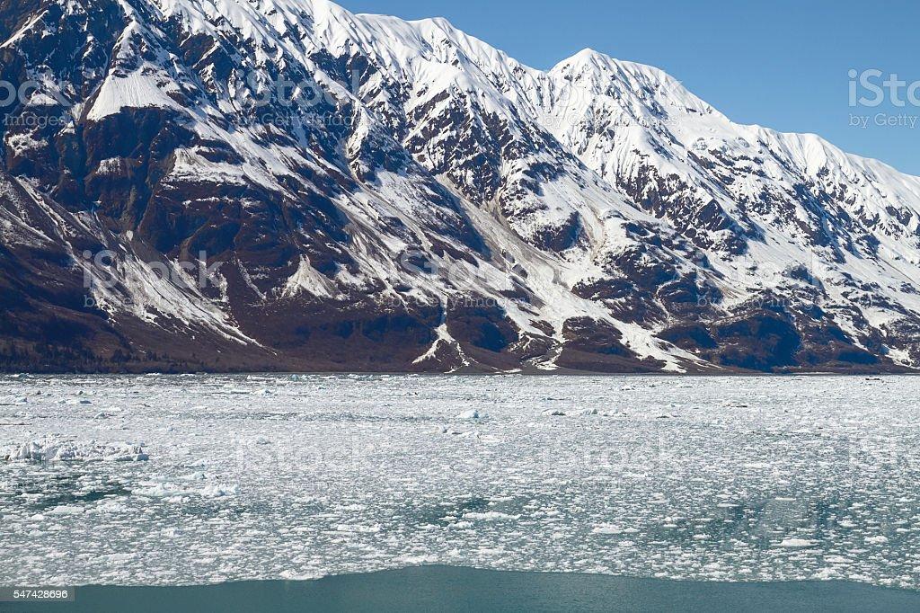 Icebergs Floating in Sea Close to Hubbard Glacier in Alaska stock photo