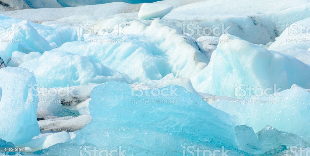 Icebergs floating  in the Jokulsalon glacier lagoon in Iceland stock photo
