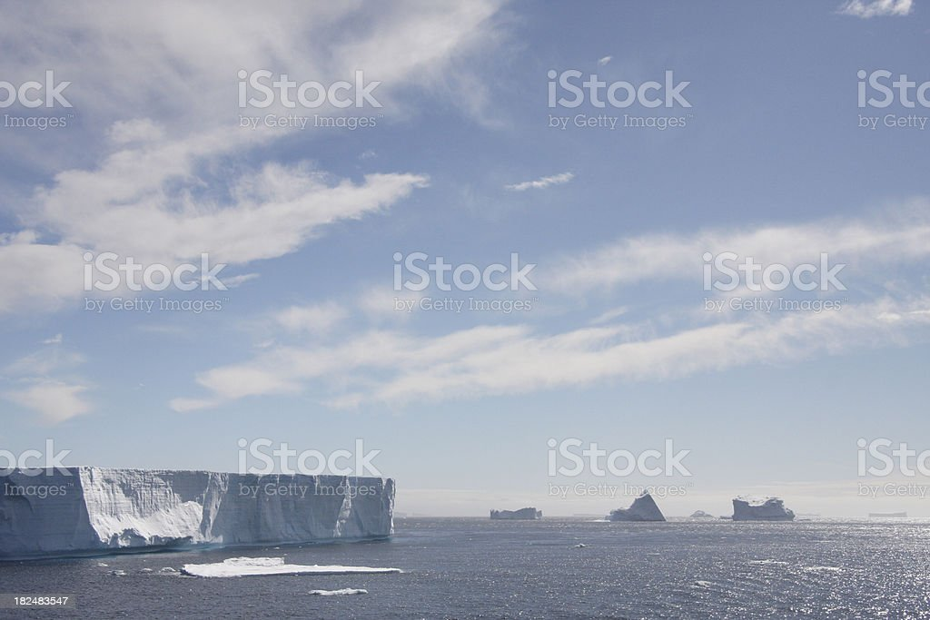 Icebergs floating off the Antarctic Peninsula stock photo