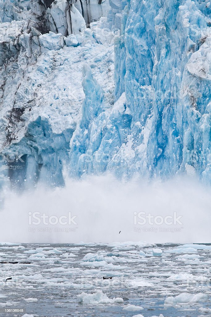 Icebergs forming from pieces of Dawes Glacier stock photo