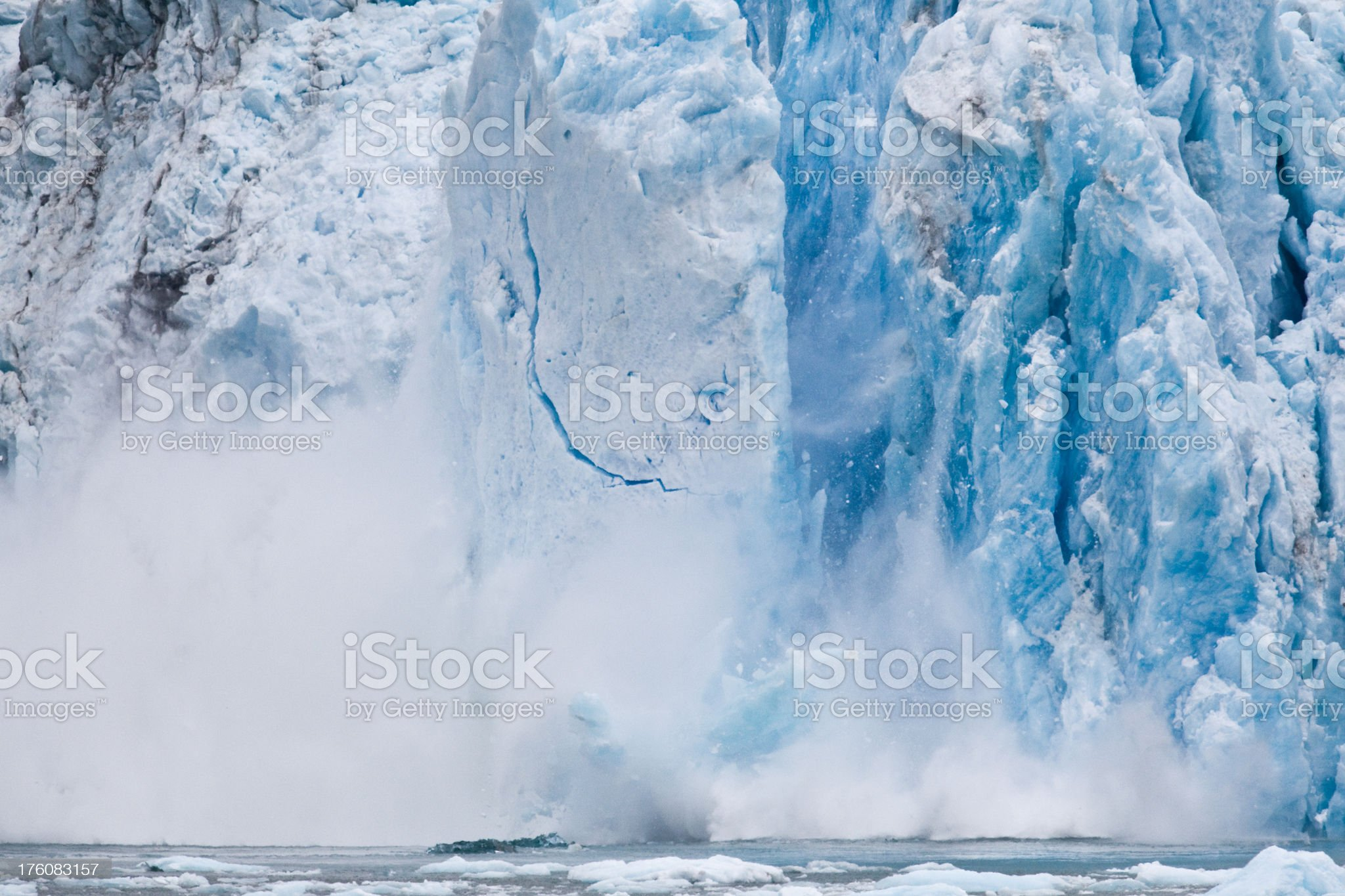Icebergs forming from pieces of Dawes Glacier royalty-free stock photo