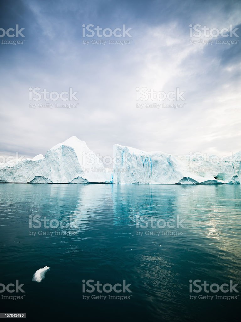 Icebergs in Arctic Waters West Greenland stock photo