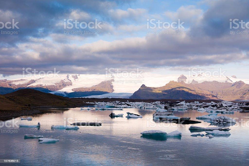 Icebergs in Jokulsarlon Iceland Early Morning royalty-free stock photo