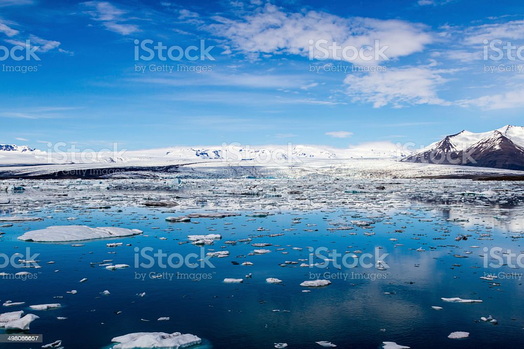 Icebergs in Jokulsarlon lagoon stock photo