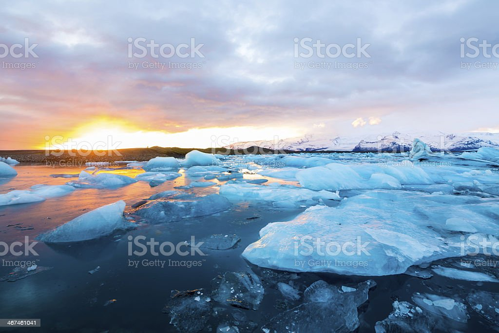Icebergs in Jokulsarlon Lagoon Sunset stock photo