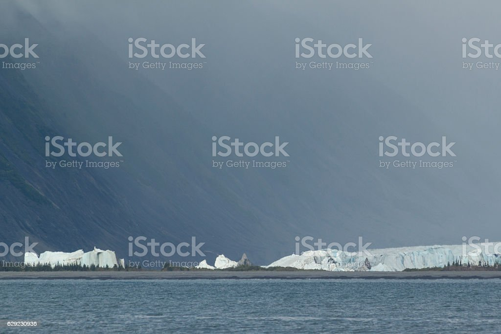 Icebergs in the lagoon in front of Bear Glacier. stock photo