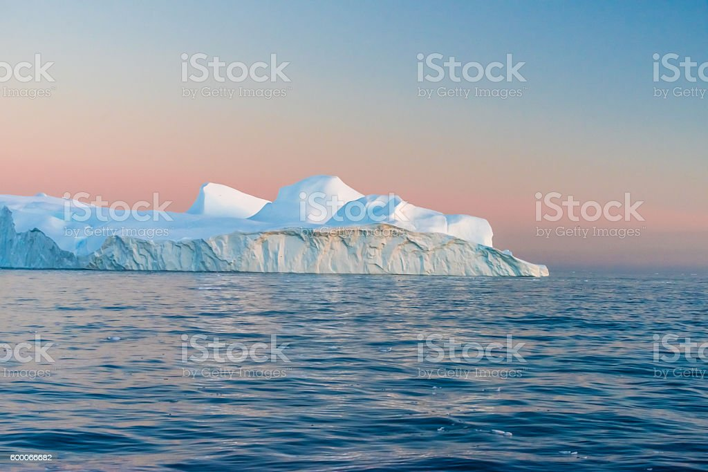 Icebergs in the midnight sun, Ilulissat, Greenland stock photo