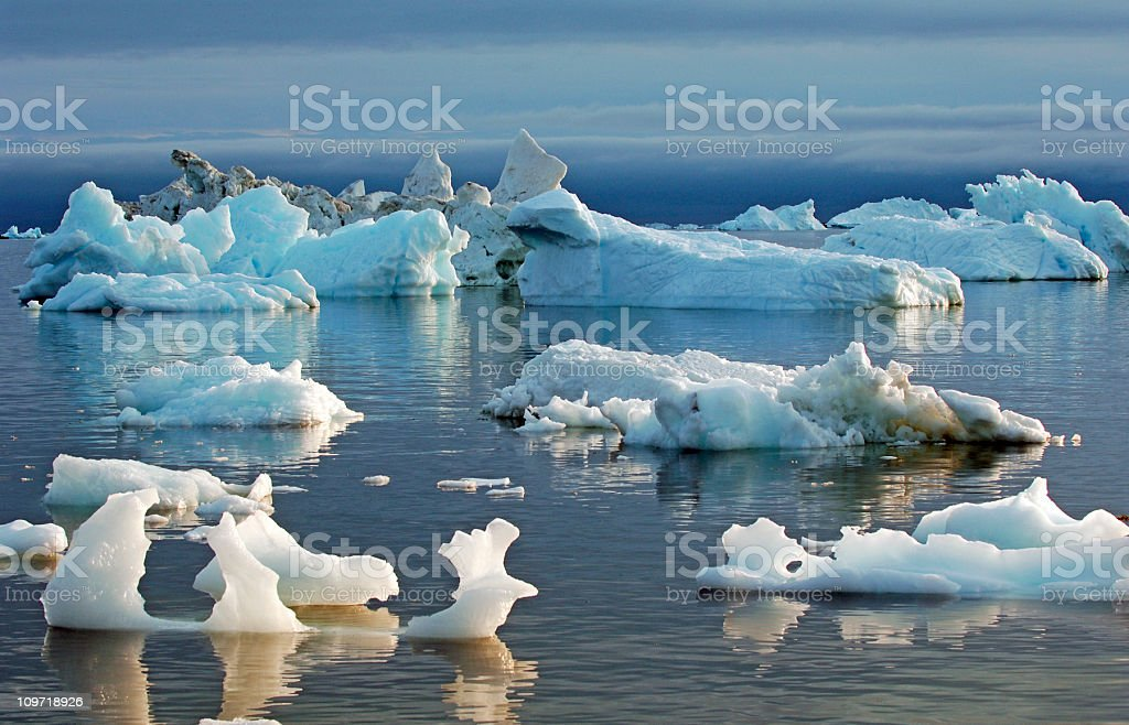Icebergs in Water stock photo