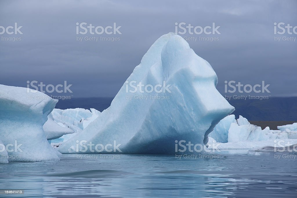 Icebergs: JAkulsA!rlAn glacial lake in Iceland stock photo