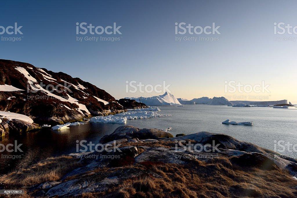 Icebergs on arctic ocean in Greenland stock photo