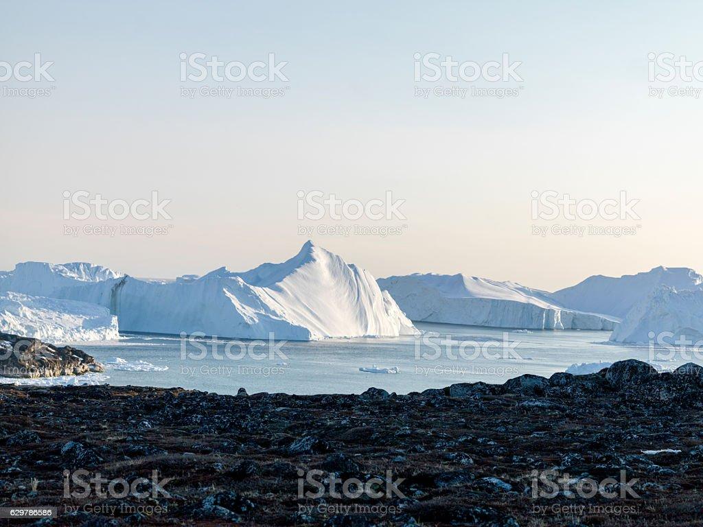 icebergs on arctic ocean stock photo