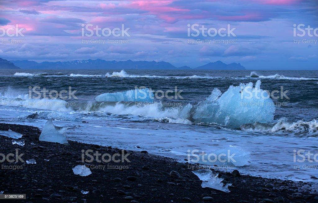 Icebergs on the Seashore Iceland stock photo