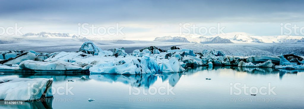 Icebergs panorama in Iceland stock photo