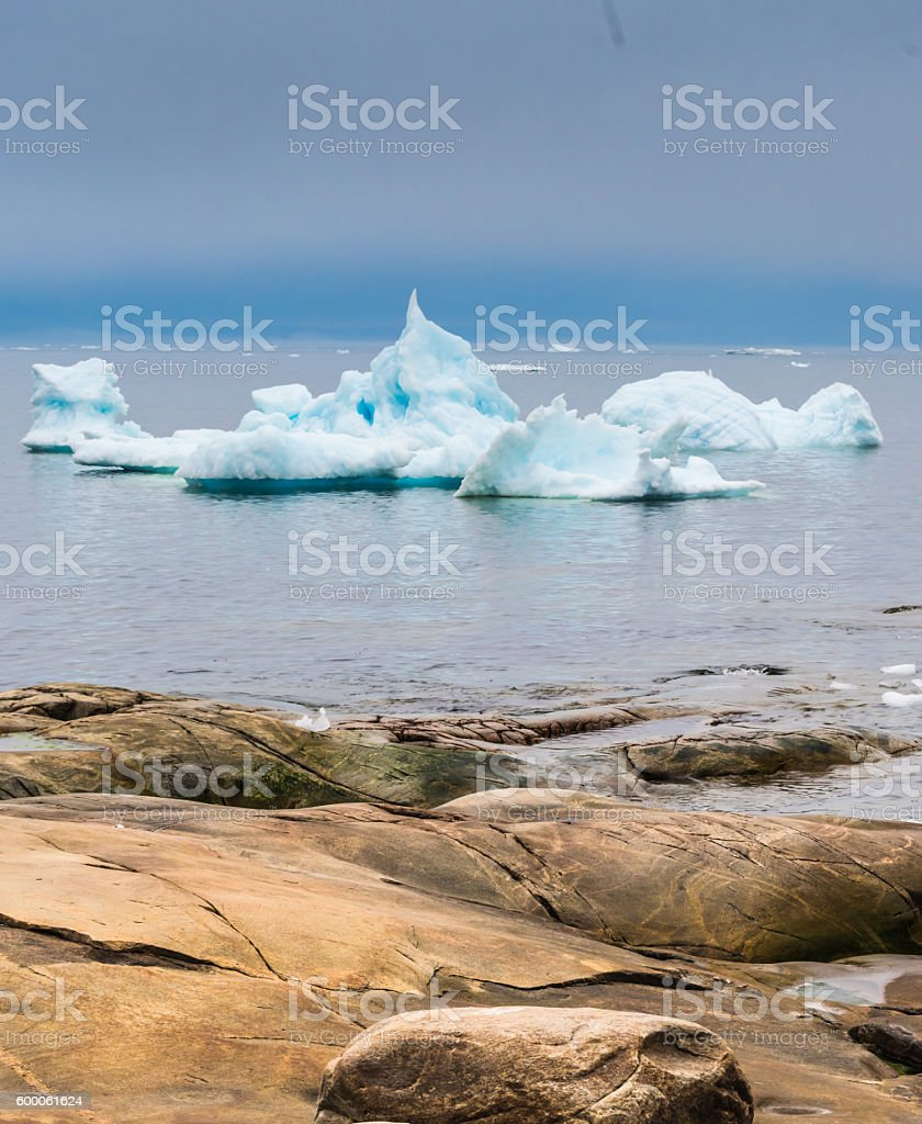 Icebergs stranded on the shores of Iulissat, Greenland stock photo