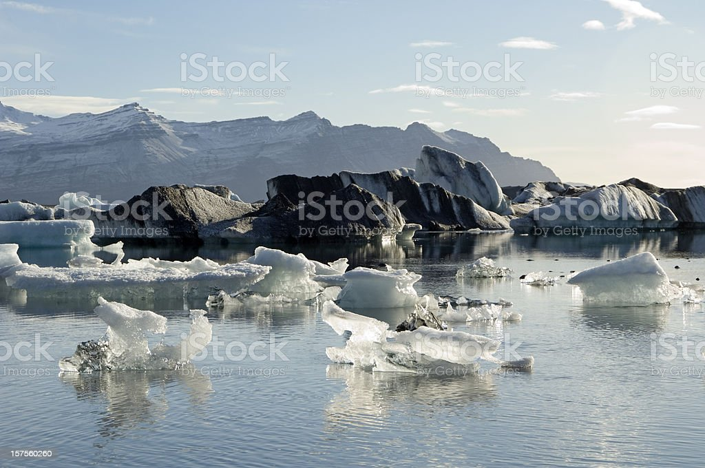 Icebergs wih volcanic ash in Iceland stock photo