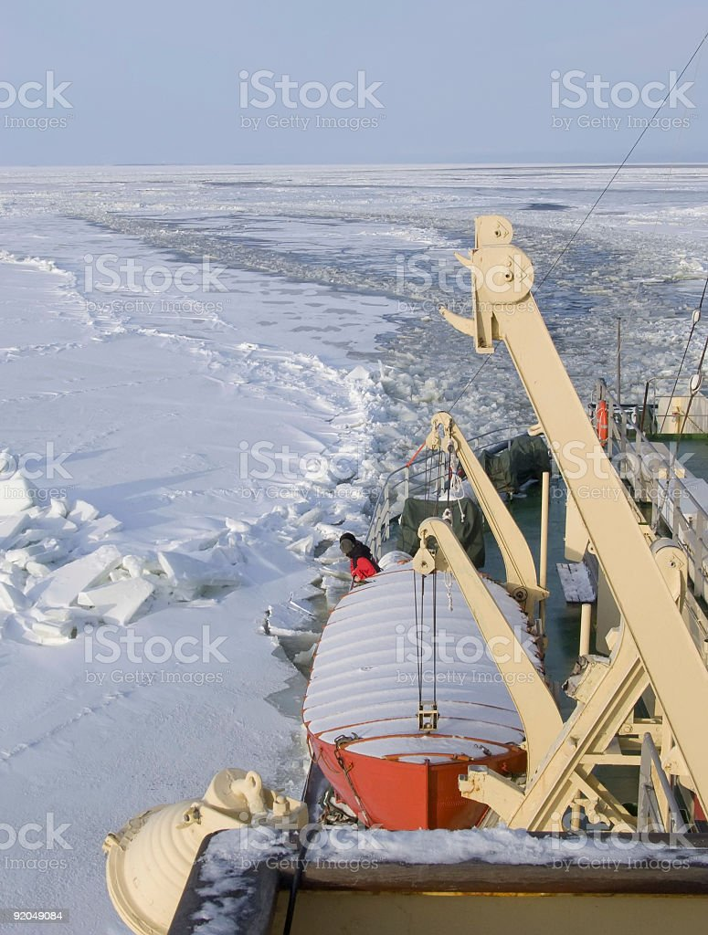 Icebreaker at sea royalty-free stock photo