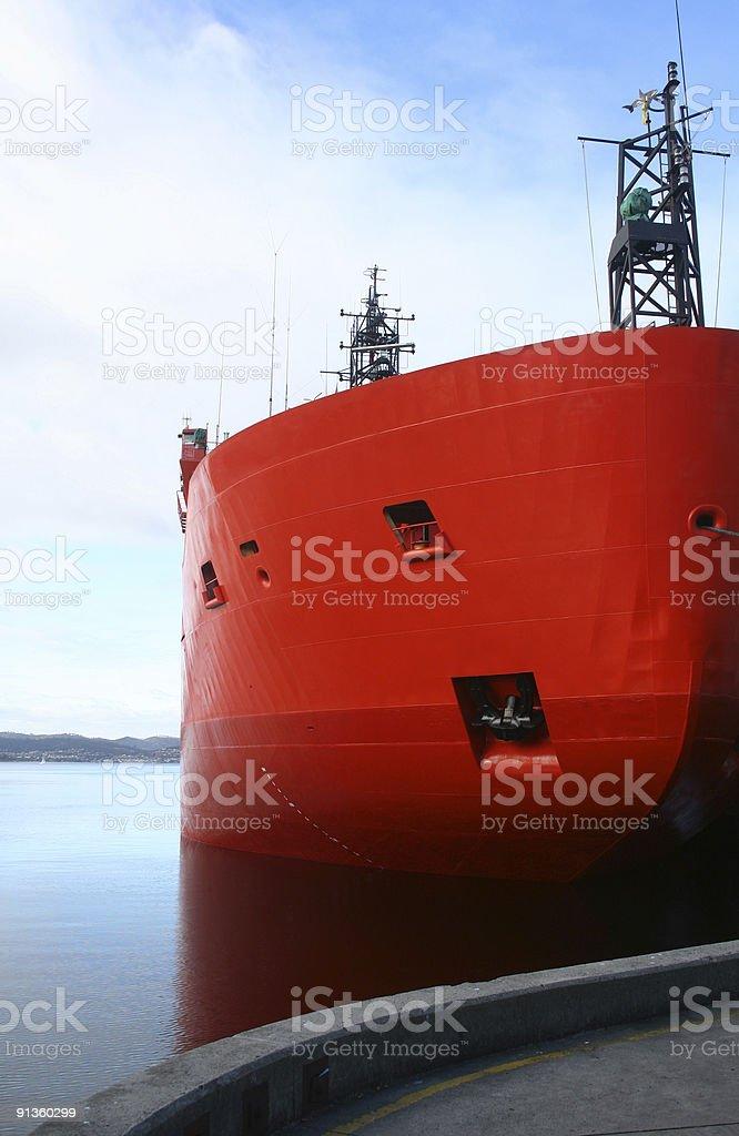 Icebreaker in harbour stock photo