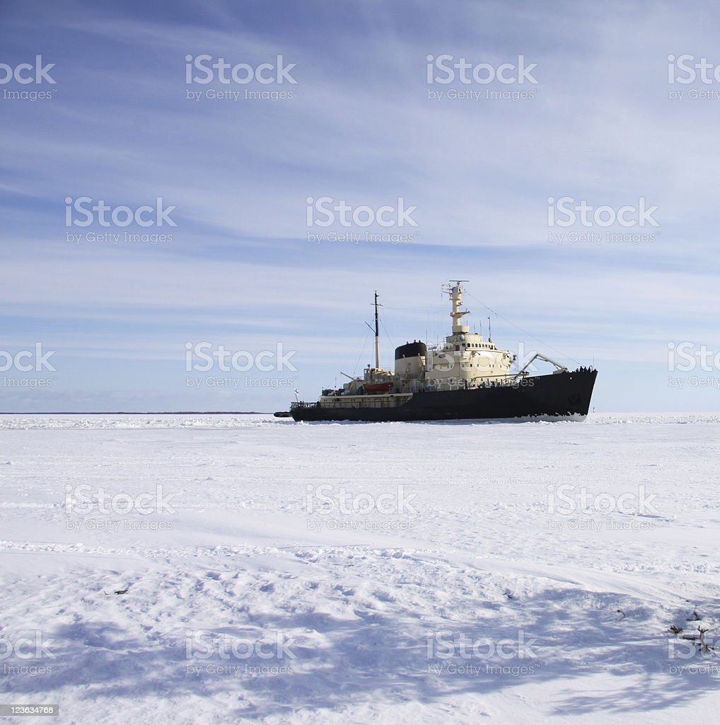 icebreaker in icefield polar area royalty-free stock photo