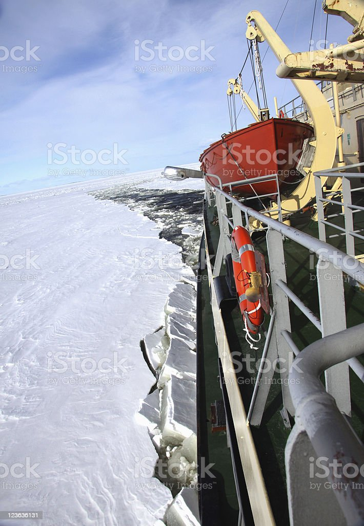 icebreaker in pack ice polar environment royalty-free stock photo