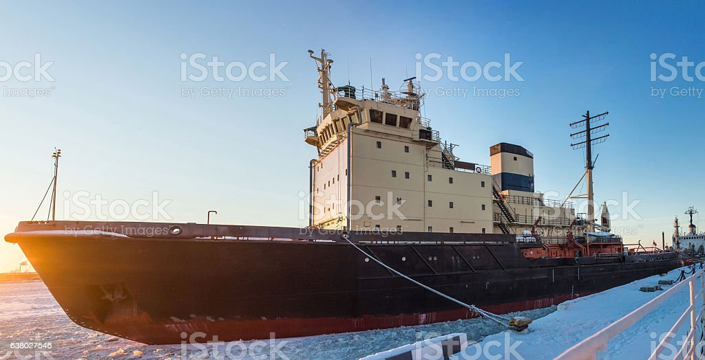 Icebreaker in the river ice. Winter shot. Close up. stock photo