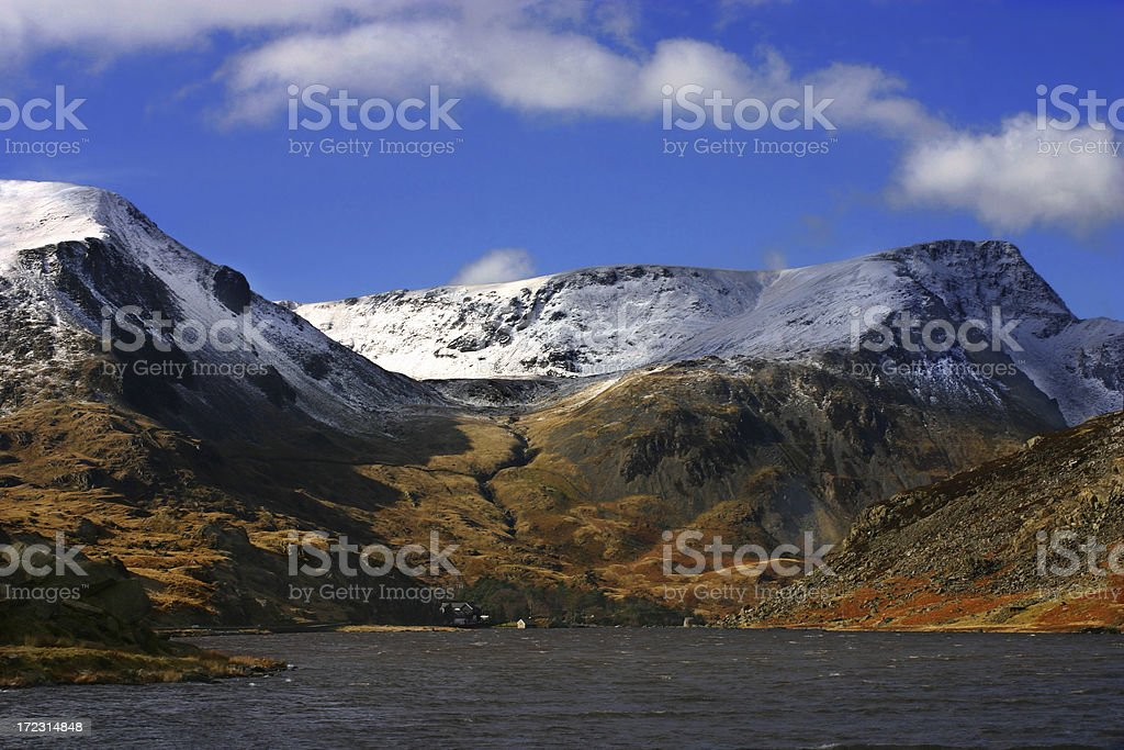 Icecapped mountains of Snowdonia royalty-free stock photo