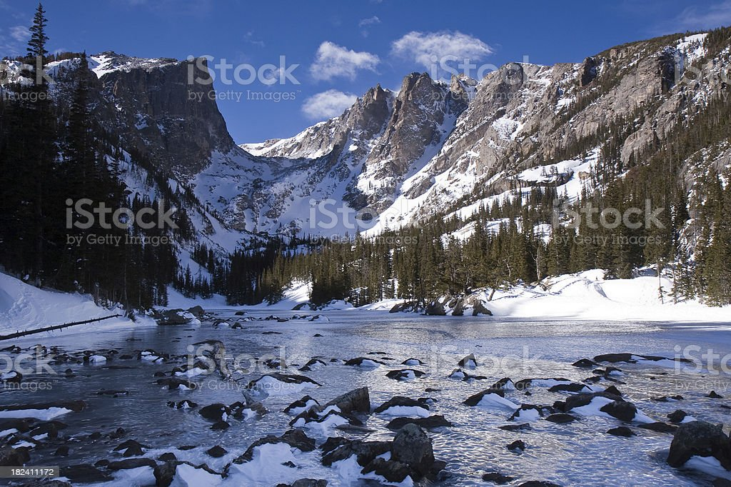 Ice-Covered Dream Lake and Hallett Peak In Winter royalty-free stock photo