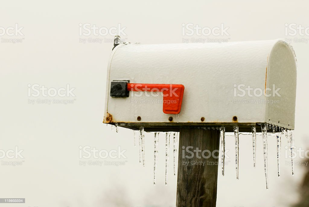 Ice-covered Rural Mailbox royalty-free stock photo
