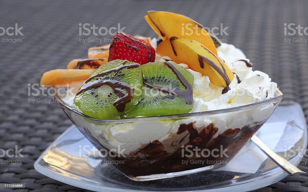 Icecream and fruit royalty-free stock photo