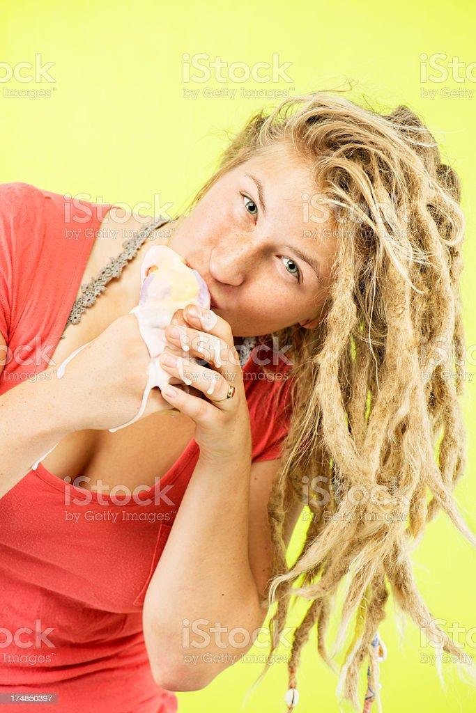 Icecream Eating Woman royalty-free stock photo