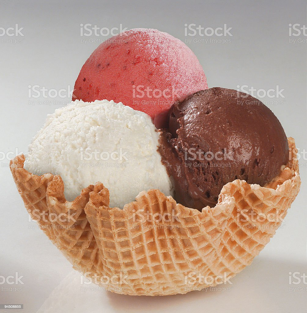 Icecream three balls in wafer royalty-free stock photo