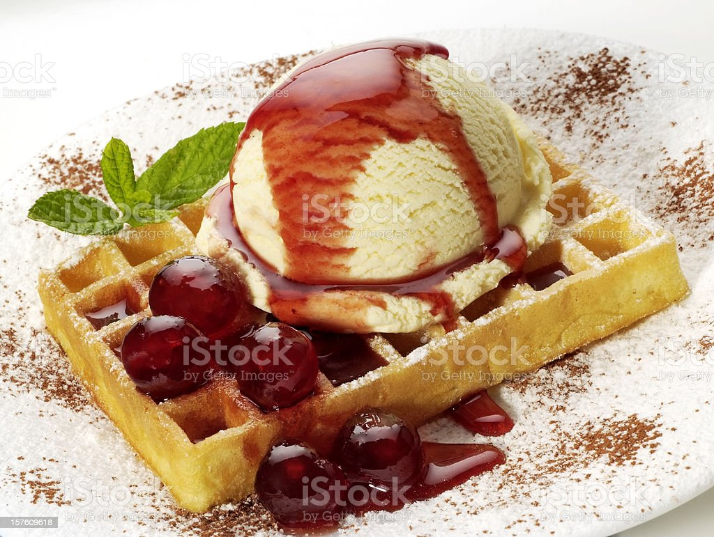 Ice-cream waffle royalty-free stock photo