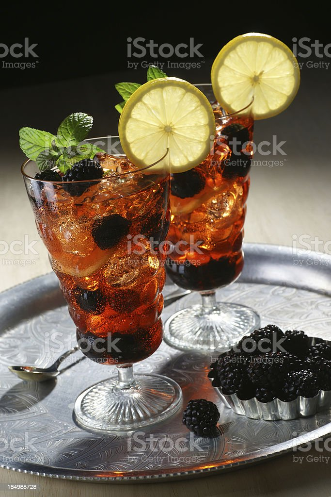 Iced Blackberry Fruit Tea stock photo