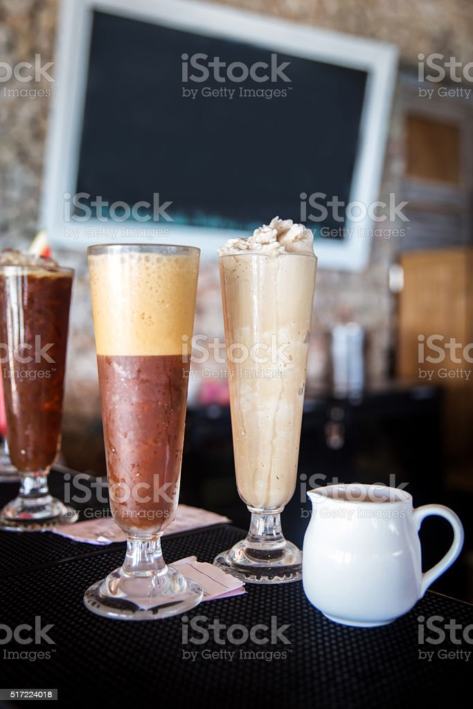 iced blended cappuccino stock photo