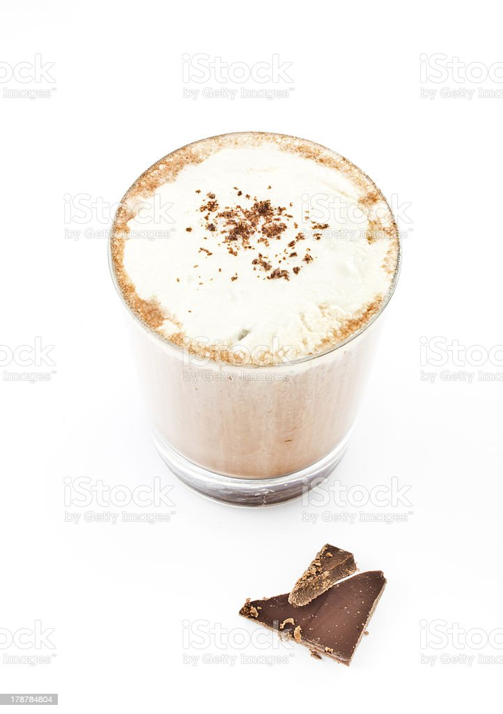 Iced blended frappe coffee on white background royalty-free stock photo