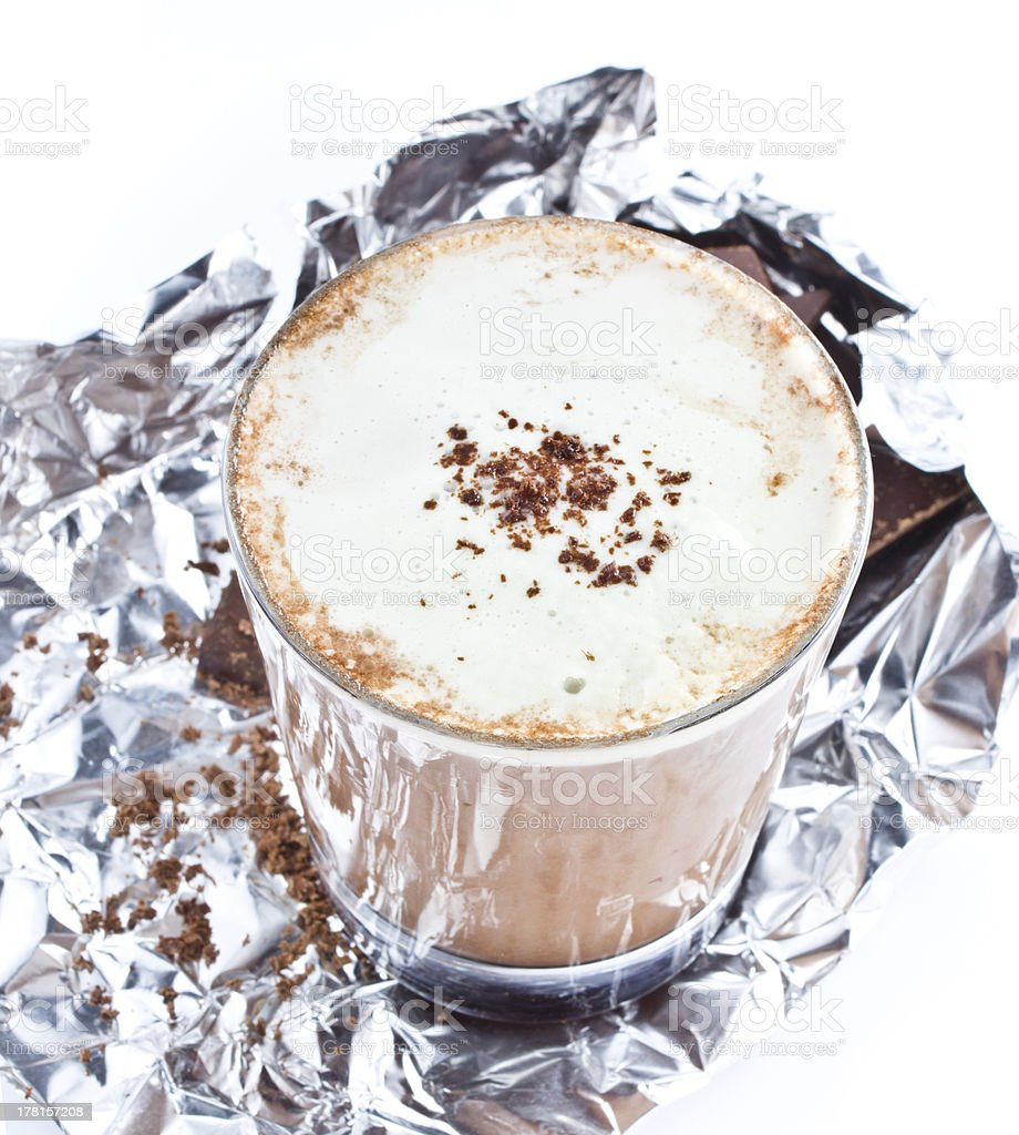 Iced blended frappe coffee with chocolate  on white background royalty-free stock photo