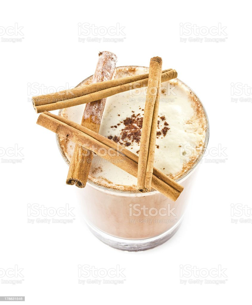 Iced blended frappe coffee with cinnamon  isolated on white royalty-free stock photo