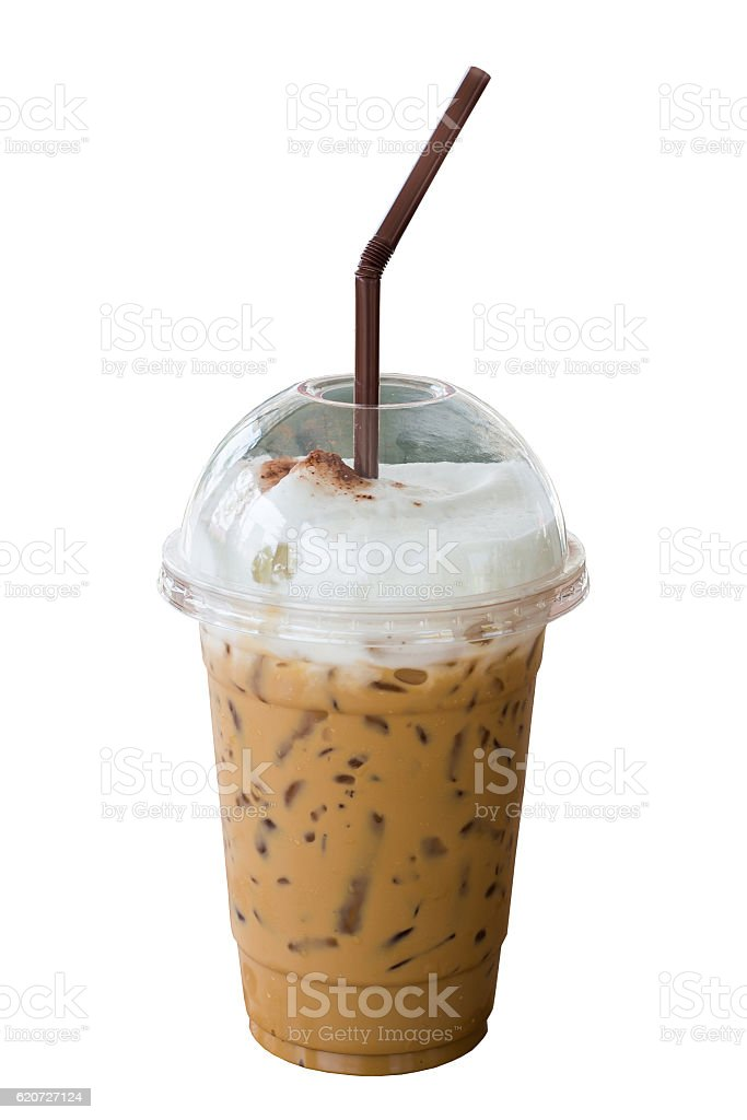 Iced cappuccino coffee with straw in plastic cup isolated stock photo