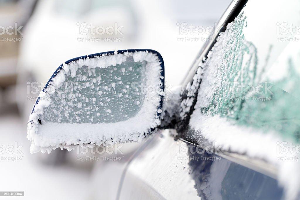 Iced car  window stock photo