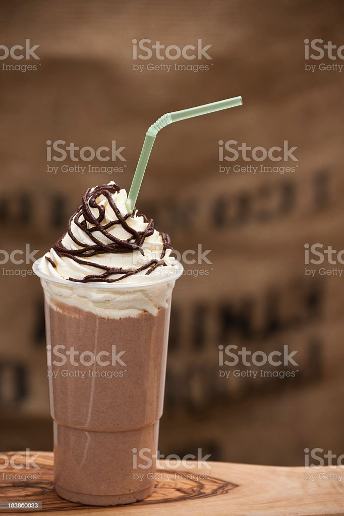 Iced Chocolate blended drink topped with fresh cream royalty-free stock photo