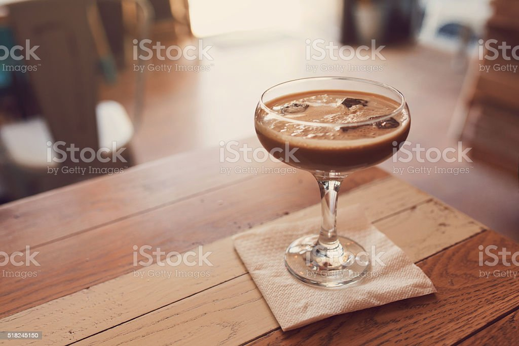 Iced, Chocolate-Kissed Coffee Cocktail stock photo
