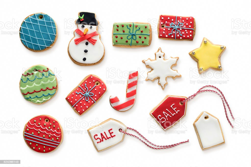 Iced Christmas Biscuits stock photo