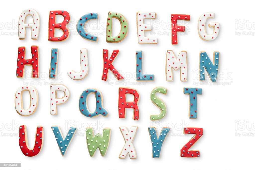 Iced Christmas Cookie Alphabet stock photo