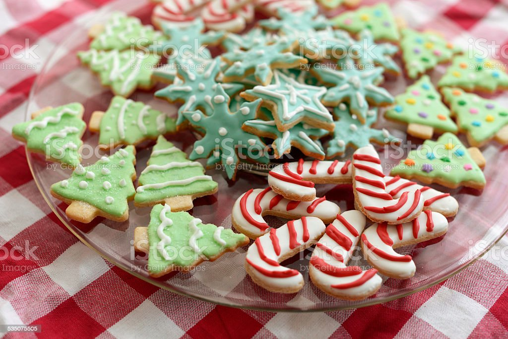 Iced Christmas Sugar Cookies stock photo